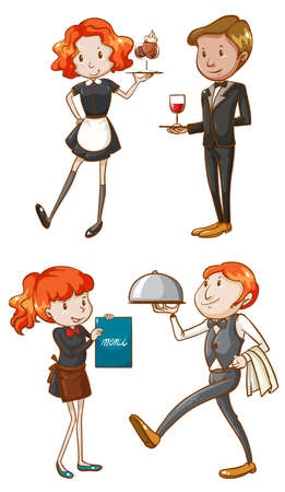 Illustration of the waiters and waitresses on a white background Vector