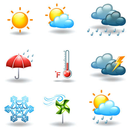 polar climate: Illustration of the different weather conditions on a white background Illustration