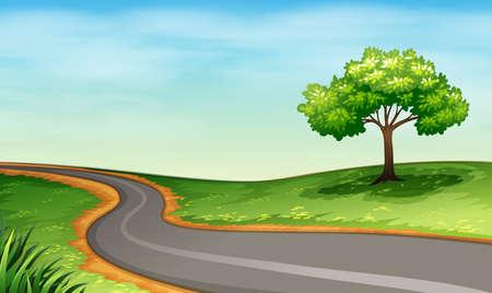 Illustration von einer schmalen Straße