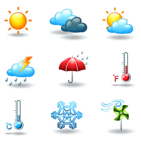 Illustration of the different weather conditions on a white background Illustration