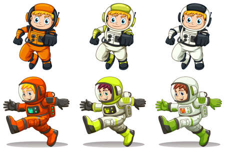 Illustration of the young astronauts on a white background