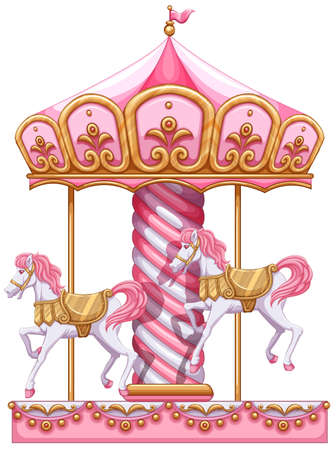 Illustration of a carousel ride on a white background 일러스트