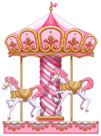 Illustratie van een carrousel rit op een witte achtergrond Stock Illustratie