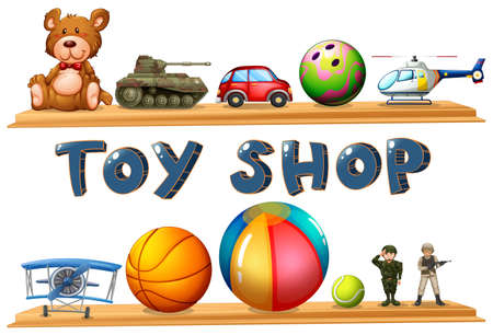 kids and toys: Illustration of a toy shop on a white background Illustration