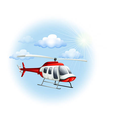 Illustration of a chopper in the sky on a white background Illustration