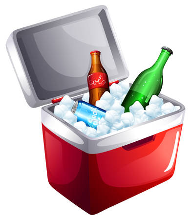 Illustration of a cooler with softdrinks on a white background Vector