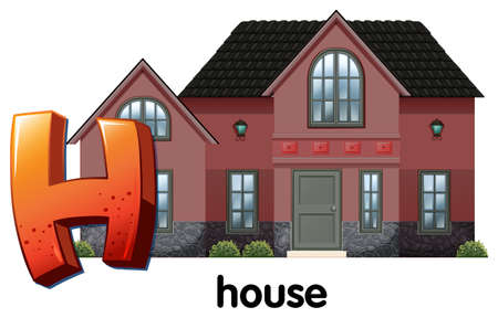 Illustration of a letter H for house on a white background Vector