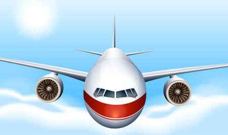 jets: Illustration of a sky with a plane Illustration