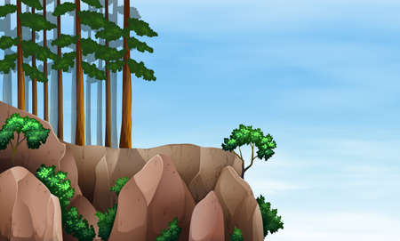Illustration of a rainforest at the cliff