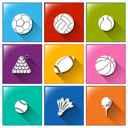 Illustration of the sports icons on a white background Vector