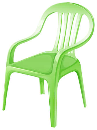 armrests: Illustration of a green plastic chair on a white background