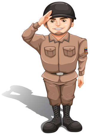 Illustration of a brave soldier doing a hand salute on a white background Illustration