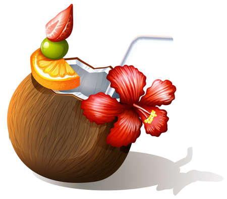 sip: Illustration of a refreshing beach drink on a white background Illustration