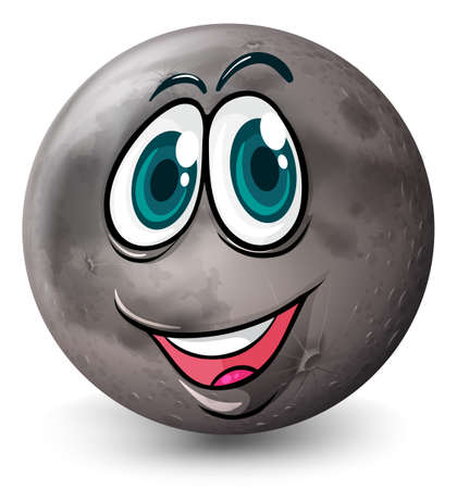 pluto: Illustration of a grey planet with a face on a white background