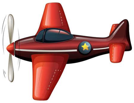Ilustración de un avión de época de color rojo sobre un fondo blanco Foto de archivo - 30437215