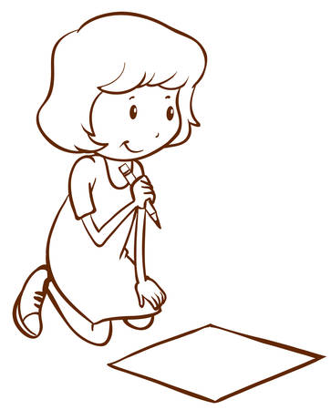 simple girl: Illustration of a simple girl writing on a white background Illustration