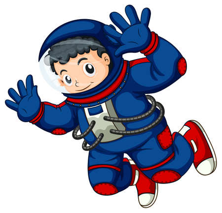 illustration: Illustration of an astronaut in the air on a white background Illustration