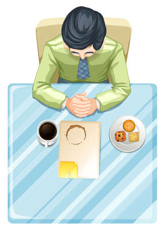 view: Illustration of a topview of a man at the table on a white background Illustration