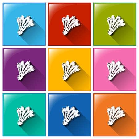 shuttlecock: Illustration of the shuttlecock icons on a white background Illustration