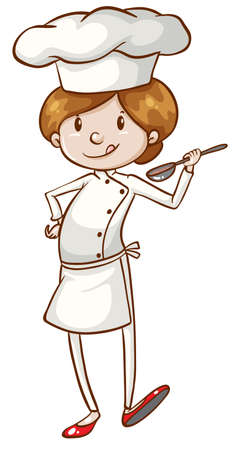 Illustration of a simple chef on a white background Vector