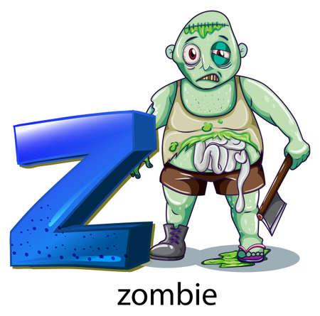 carribean: Ilustraci�n de una letra Z de zombie en un fondo blanco