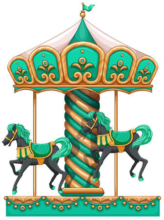 carrousel: Illustration of a green merry-go-round on a white background Illustration