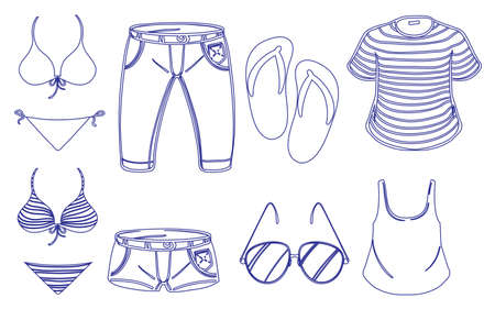 anthropological: Illustration of the different outfits for summer on a white background