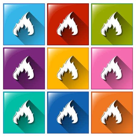gaseous: Illustration of the flame icons on a white background