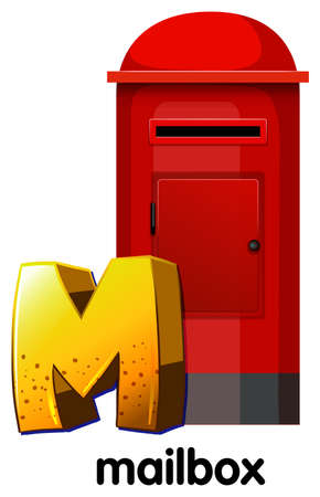Illustration of a letter M for mailbox on a white background