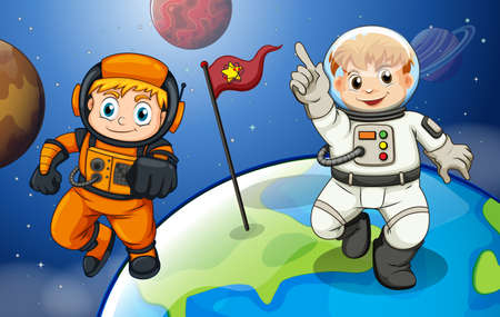 outerspace: Illustration of the two male astronauts in the outerspace