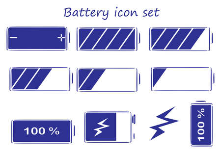 electric current: Illustration of the battery icon set on a white background Illustration