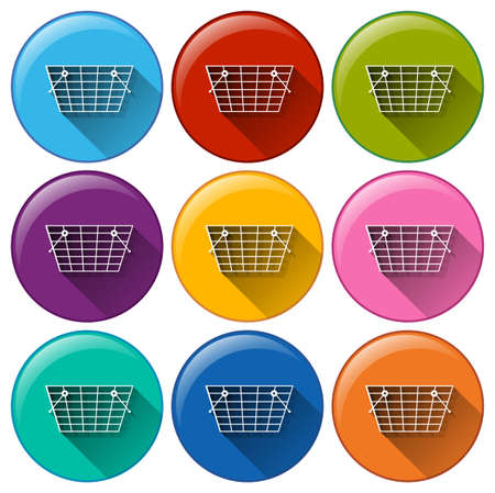convey: Illustration of the grocery basket icons on a white background Illustration
