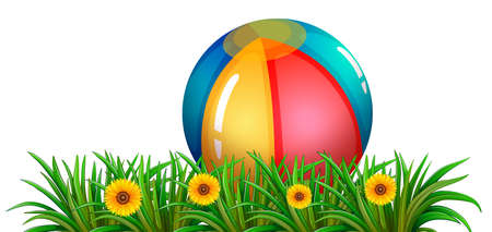 Illustration of a ball near the green plants with flowers on a white background