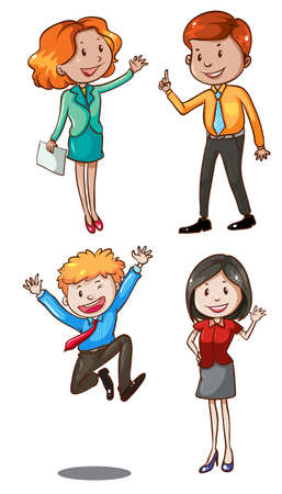 decent: Illustration of a simple sketch of the office workers on a white background