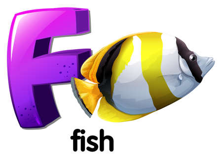 capitalized: Illustration of a letter F for fish on a white background