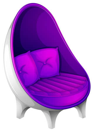 Illustration of a lavender chair with throw pillows on a white background Illustration