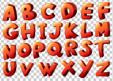 Illustration of the alphabet artwork in orange color on a white background