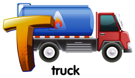 t background: Illustration of a letter T for truck on a white background