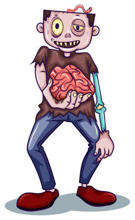 animated alien: Illustration of a zombie holding his brain on a white background Illustration