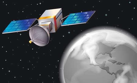 outerspace: Ilustraci�n de un sat�lite en el espacio exterior