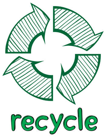 labelling: Illustration of a recycle symbol on a white background