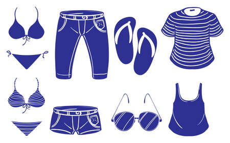outing: Illustration of the summer outing outfits on a white background