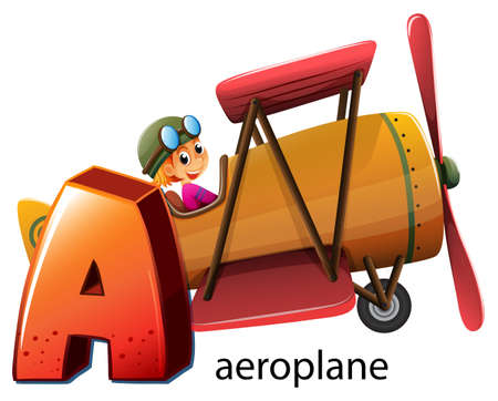 supersonic: Illustration of a letter A for aeroplane on a white background Illustration