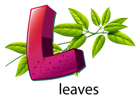 absorption: Illustration of a letter L for leaves on a white background