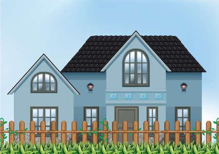 detached: Ilustraci�n de una �nica vivienda unifamiliar Vectores