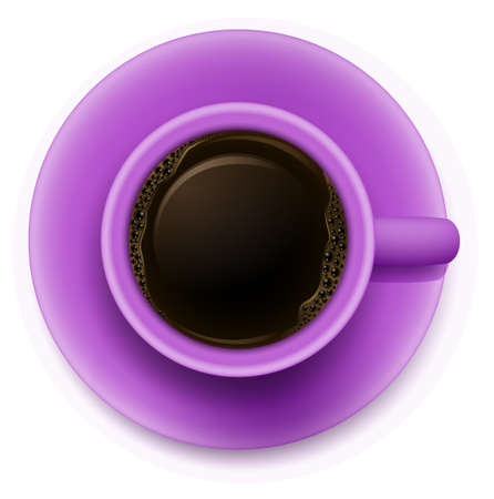 bush bean: Illustration of a topview of a purple cup with coffee on a white background