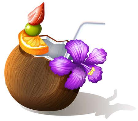 sip: Ilustraci�n de un refrescante jugo de coco sobre un fondo blanco