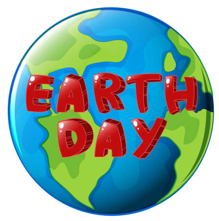 globe terrestre dessin: Illustration d'un globe avec une �tiquette de Jour de la Terre sur un fond blanc