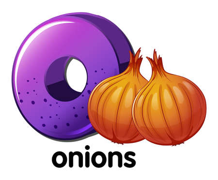 allium: Illustration of a letter O for onions on a white background