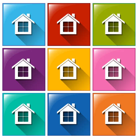 resident: Illustration of the house icons on a white background Illustration